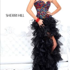 Sherri hill cocktail dress black with multi stones